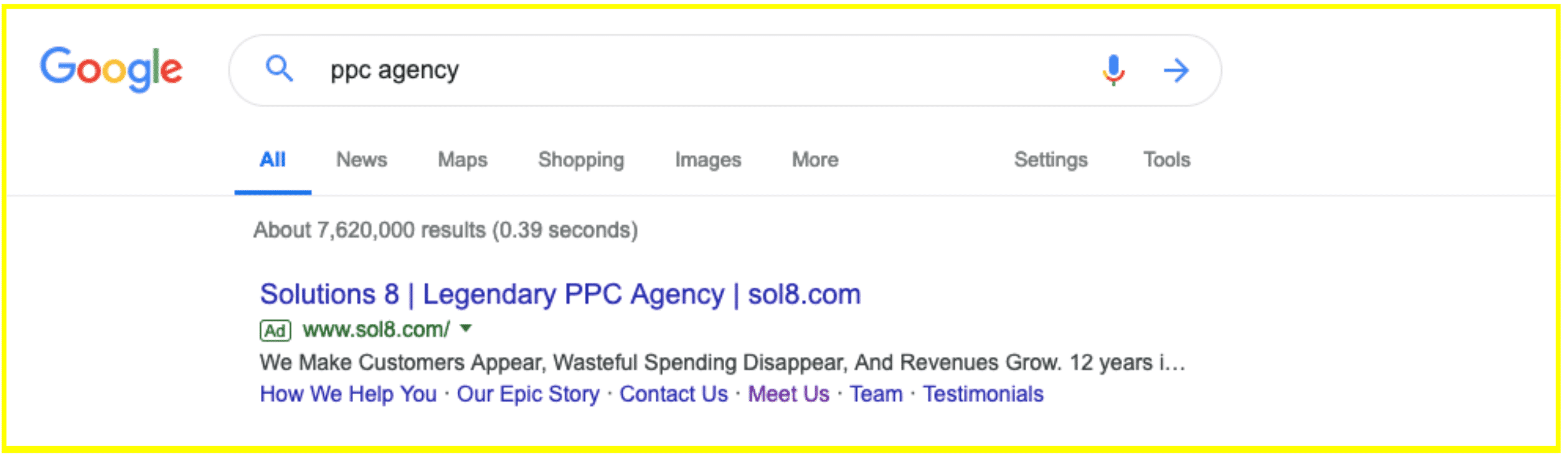 Google Ads Search results for ppc agency