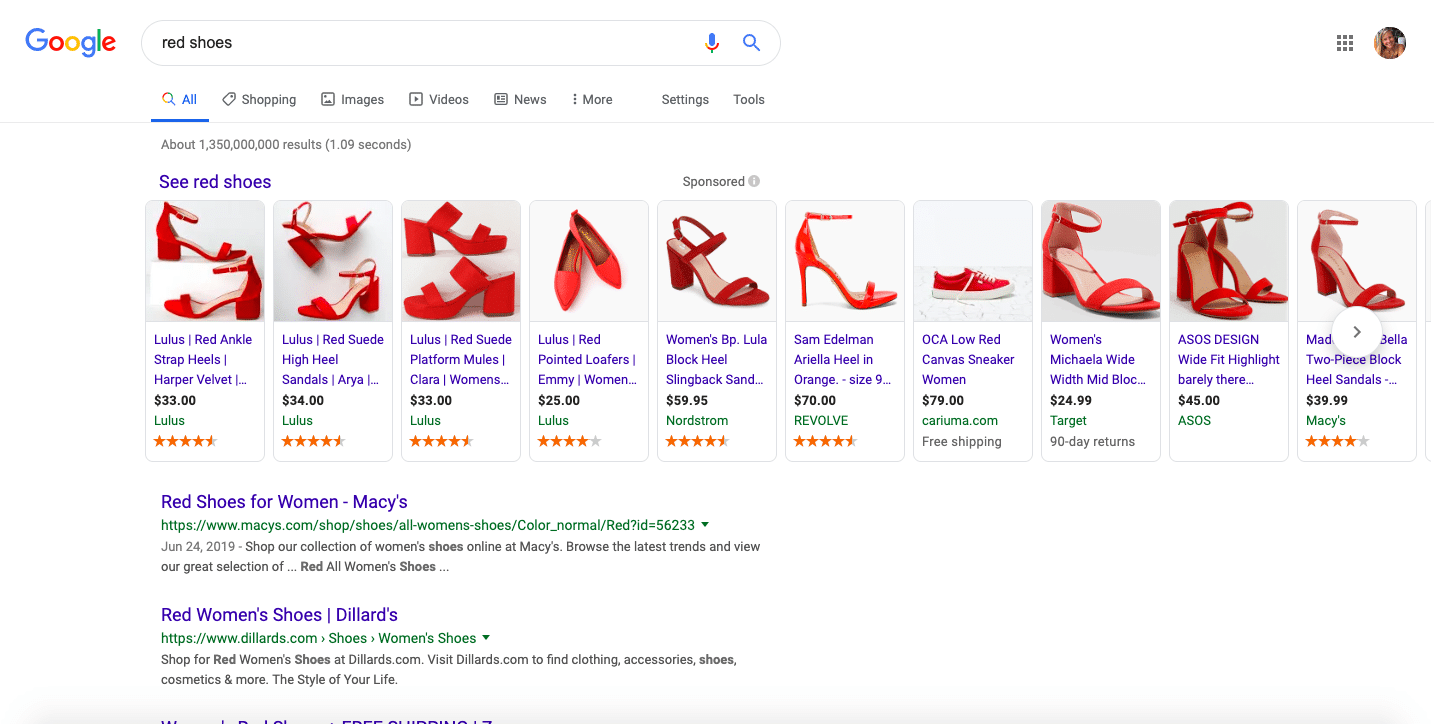 Smart shopping red shoes