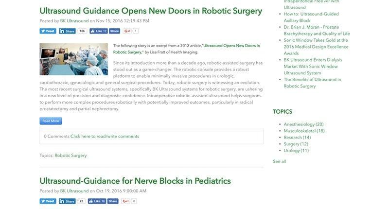 medical device website blog posts