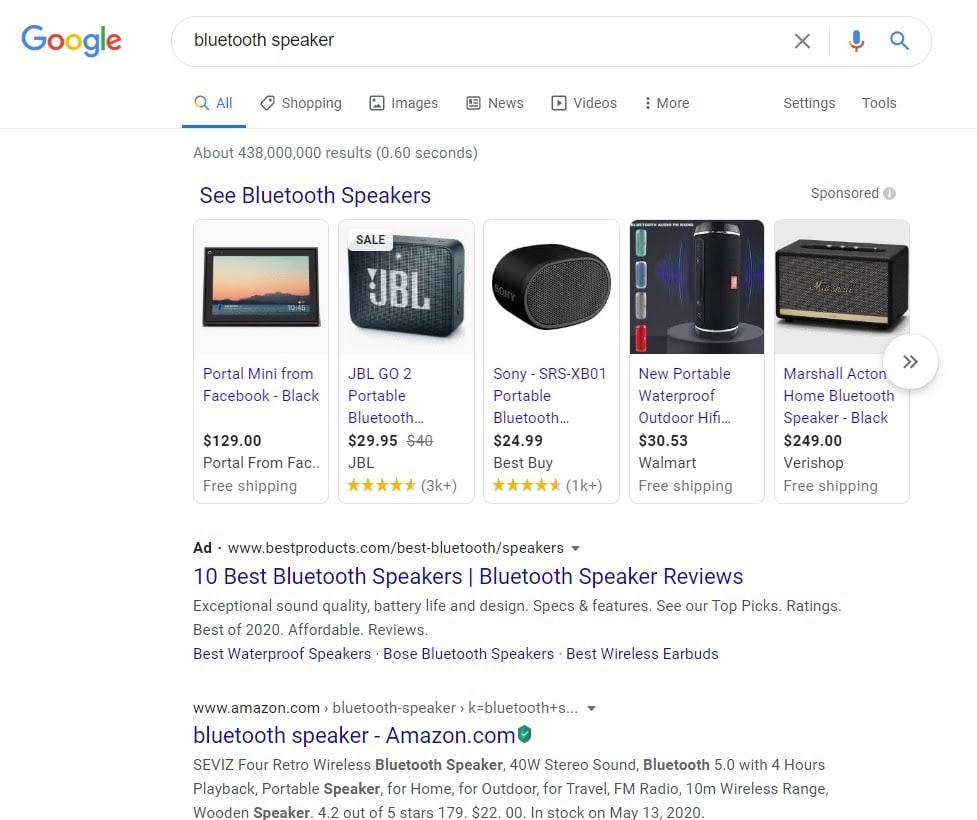 Bluetooth speaker Google search results