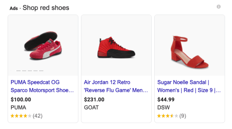 Google Smart Shopping Red Shoes results