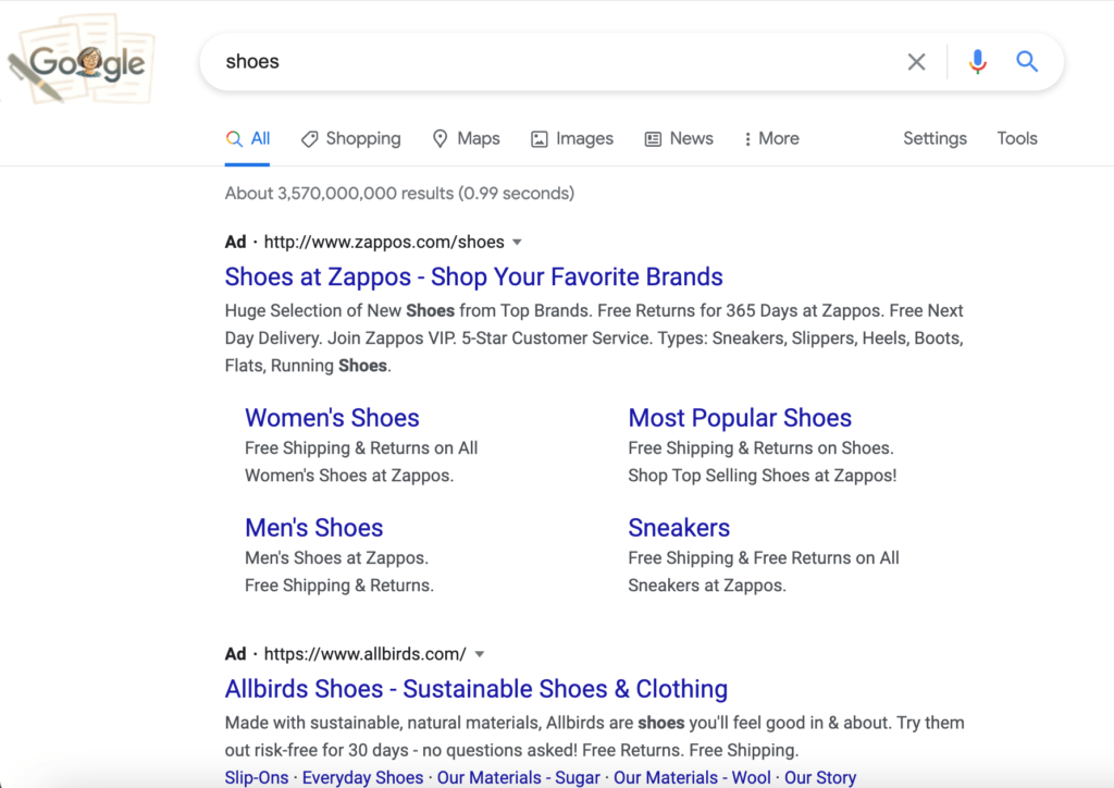 Google Search Page Results for Shoes