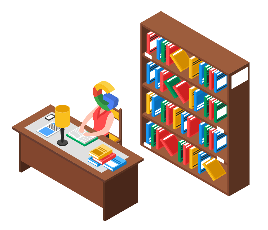 Google personified as a librarian
