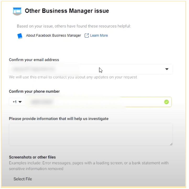 Facebook Contact Support Form