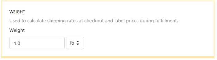 adding product weight in Shopify