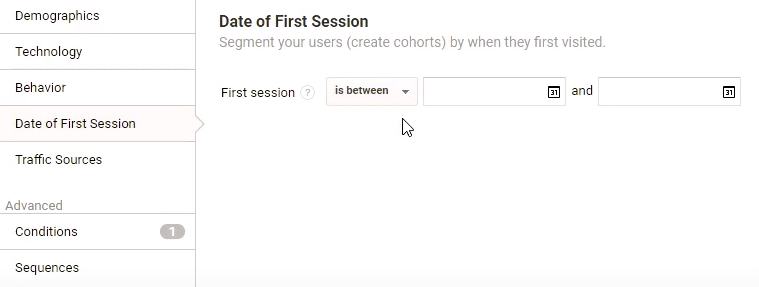 Date of first session in Google Analytics