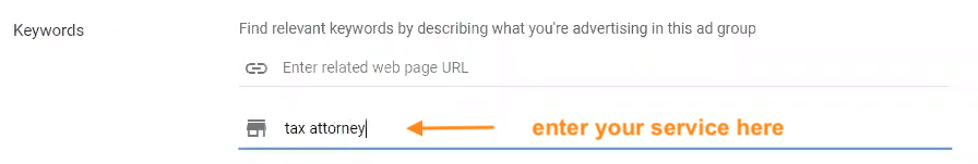 Enter your service to get keyword suggestions in ad group set up