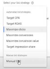 Manual CPC bidding strategy in Google Ads for lead generation