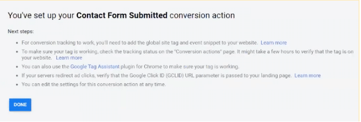 Successful Contact Form Submitted conversion action