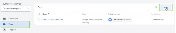 Tags section in Google Tag Manager