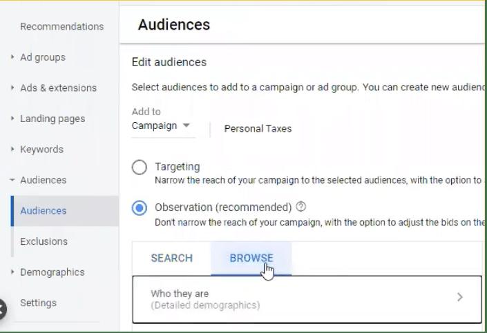 choosing all web visitors Google Ads Audiences dashboard