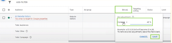how to increase your adjust your bids in Google Ads Audiences dashboard