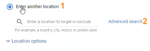 Target by radius set up in Google Ads locations