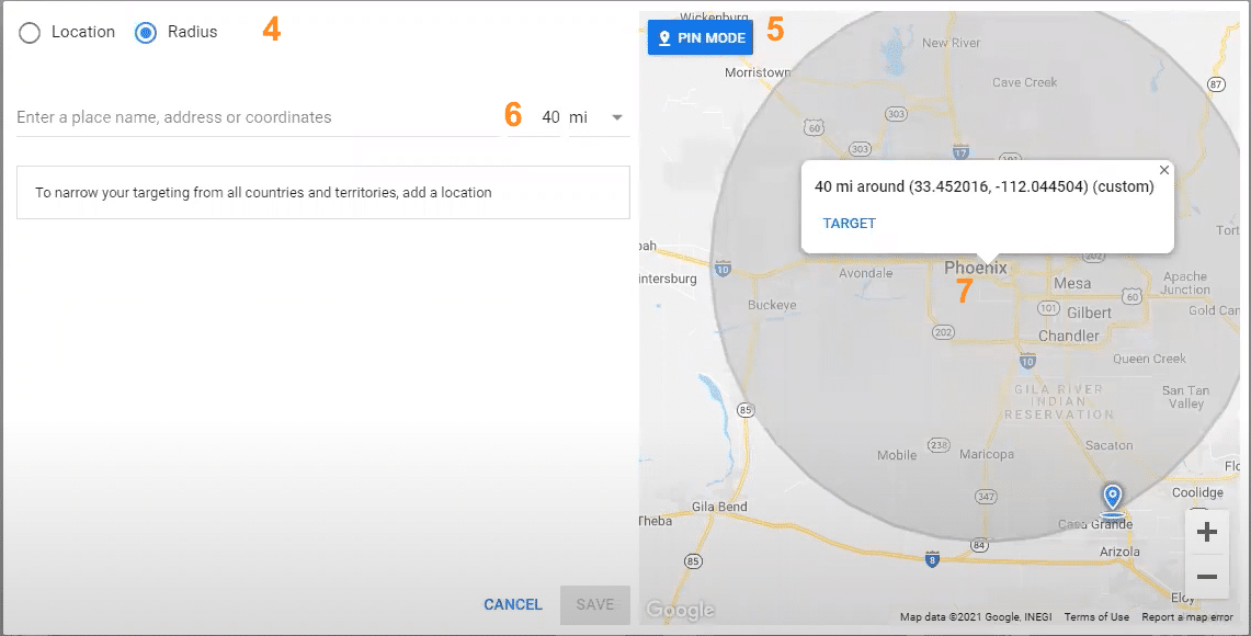Targeting locations by radius in Google Ads