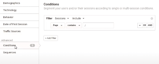 advanced conditions in Google Analytics