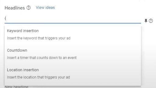 dynamic keyword insertion in Google Ads ad setup
