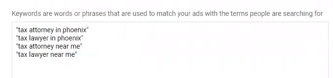 phrase match keywords example in Google Ads