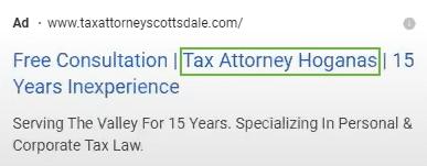 second line position for headline in Google Ads ad setup